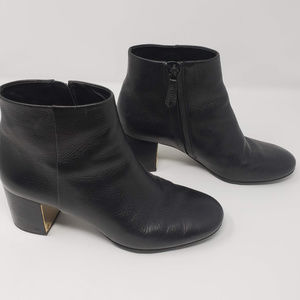Tory Burch black and gold leather ankle booties 8M